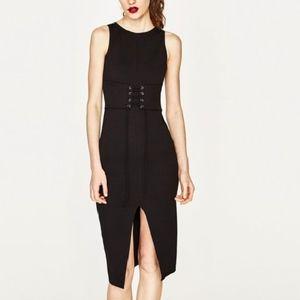 ZARA Black Corset Dress With Split Front